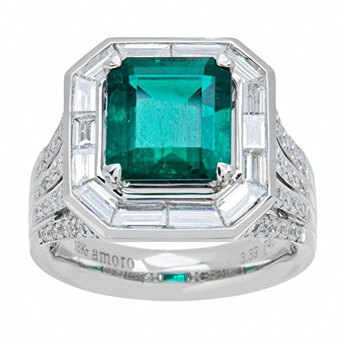 Amoro-18k-White-Gold-Colombian-Emerald-Ring-and-Diamond-Ring-175-cttw-G-H-ColorVSI-VS2-Clarity