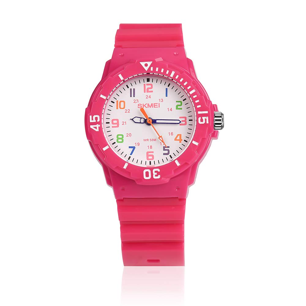 Kids Watches for Girls Ages 5-7 PU Band and 50M Waterproof Watch Childrens Analog Wrist Watch with Gift Box for Girls Boys by GRyiyi