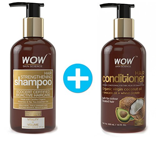 WOW Hair Strengthening Shampoo + WOW Hair Conditioner Set (10fl.oz each) - No Sulfates, Parabens or Silicones (1 Pack Combo) by WOW Skin Science