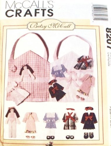 McCall's Craft Pattern 8207...Betsy McCall Flat Fabric Doll, Doll Clothes and Carrying Case/playhouse