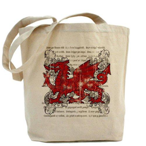 Cafepress–Welsh Dragon–Borsa di tela naturale, tessuto in iuta