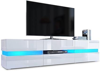 Fa/çades en Blanc laqu/é haute brillance avec /éclairage LED Corps en Blanc haute brillance Meuble TV Armoire basse Flow