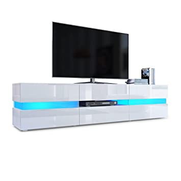 Vladon Tv Unit Cabinet Flow Carcass In White High Gloss Front In