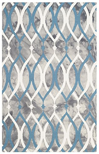 Safavieh Dip Dye Collection DDY534J Handmade Modern Geometric Watercolor Grey and Ivory Blue Wool Area Rug (3′ x 5′)