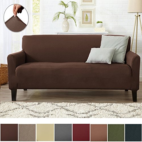 Light Brown Three Seat Sofa - Home Fashion Designs Form Fit Stretch, Stylish Furniture Cover/Protector Featuring Lightweight Twill Fabric. Dawson Collection Basic Strapless Slipcover. By Brand. (Sofa, Mocha)