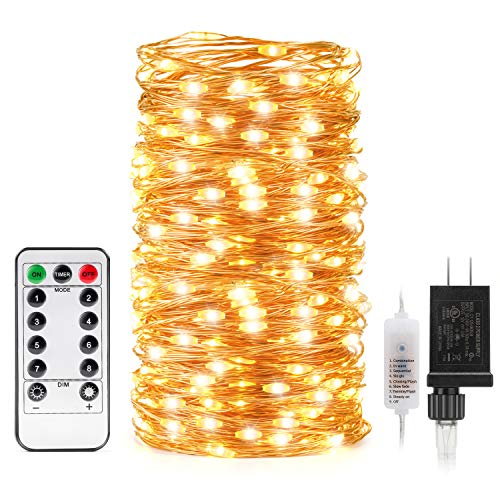 Kohree String LED Copper Wire Fairy Christmas Remote Control, 66ft/20M 200LEDs, UL Listed Seasonal Decor Rope Lights for Holiday, Wedding, Parties, Warm White