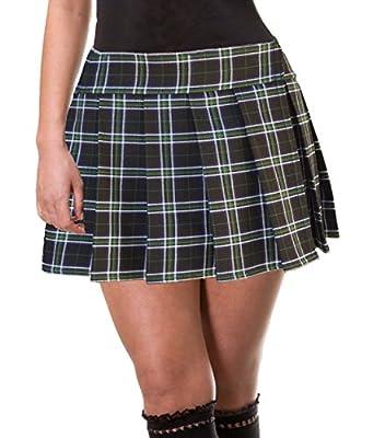 Green White and Black Schoolgirl Tartan Plaid Pleated Mini Skirt Plus Adelaide