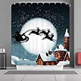 "VANCAR Xmas Merry Christmas Day Happy New Year Shower Curtain Christmas Eve Santa Claus Reindeer Sleigh Flying in the Sky Moon Night Winter Snow Town Decorative Bath Curtain for Bathroom Decor 66""X72"""