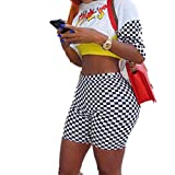 JIGAE Summer Women Fashion Black and White Lattice Print Sexy Bodycon Shorts