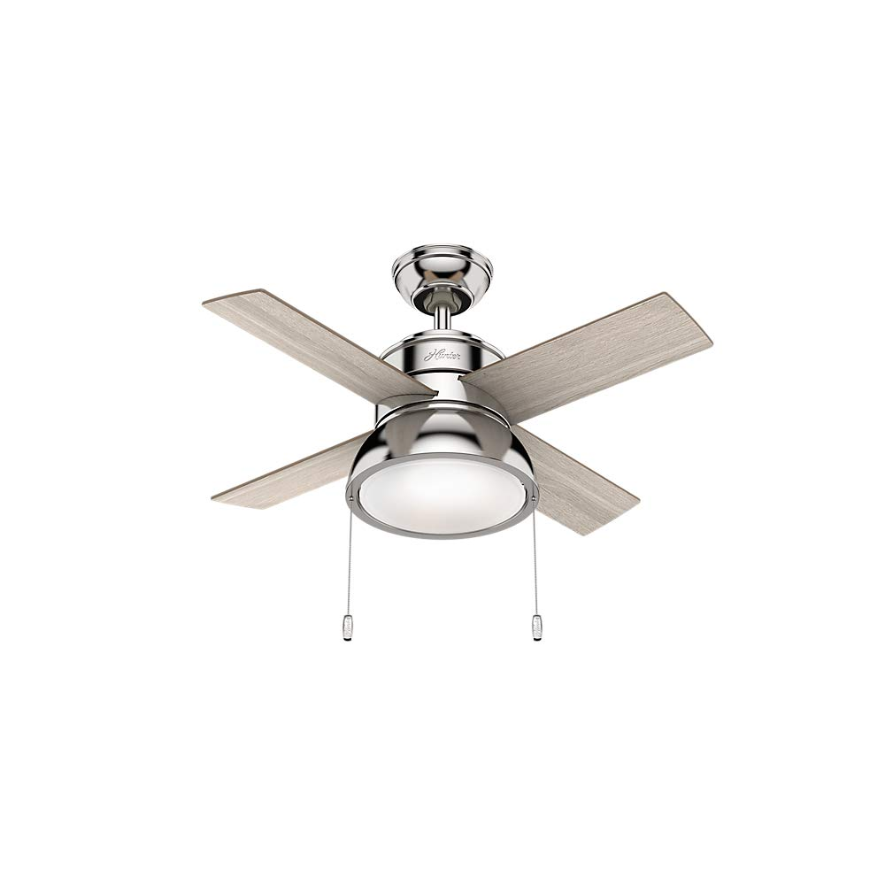 Hunter Indoor Ceiling Fan with LED Light and pull chain control - Loki 36 inch, Brushed Nickel, 59386