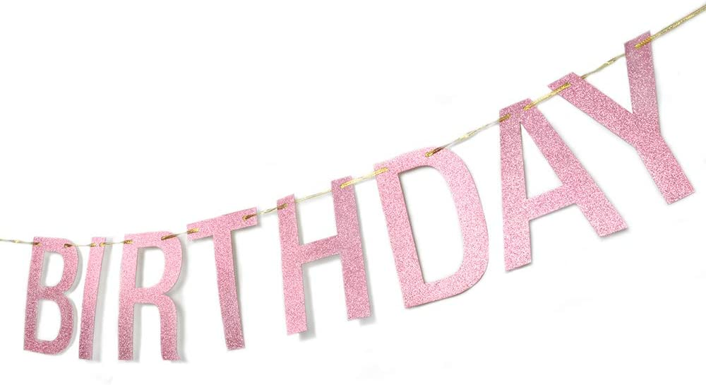 Cheers to Anniversary Birthday Party Supplies,Rose Gold Helewilk Happy Birthday Banner,Alphabet Happy Birthday Party Decorations