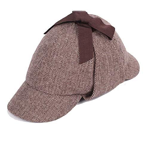BEN NOBLE Hat Unisex Winter Wool Berets for Men Tweed Cap Accessories British Detective Hat Women,Stripe 2,M