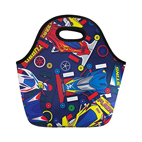 Semtomn Neoprene Lunch Tote Bag Race Pop and Colorful Classic Mini 4Wd Toys Car Reusable Cooler Bags Insulated Thermal Picnic Handbag for Travel,School,Outdoors, Work