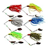6pcs-12pcs Spinner Bait Mixed Color Fishing Hard Spinner Lures for Bass Pike 0.46oz