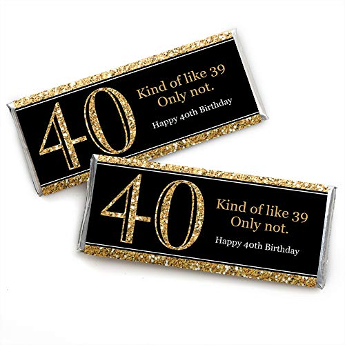 Adult 40th Birthday - Gold - Candy Bar