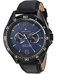 Tommy Hilfiger Mens Sophisticated Sport Quartz Resin and Leather Casual Watch, Color:Black (Model: 1791368)