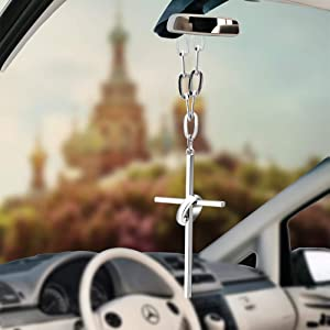 Various Men or Women Hanging Cross for Car or Truck Rearview Mirror or for Dressing or Home Decoration Fashion Personalized Car Rear View Mirror Pendant for Home Vehicle Interior Accessories (Cross 3)
