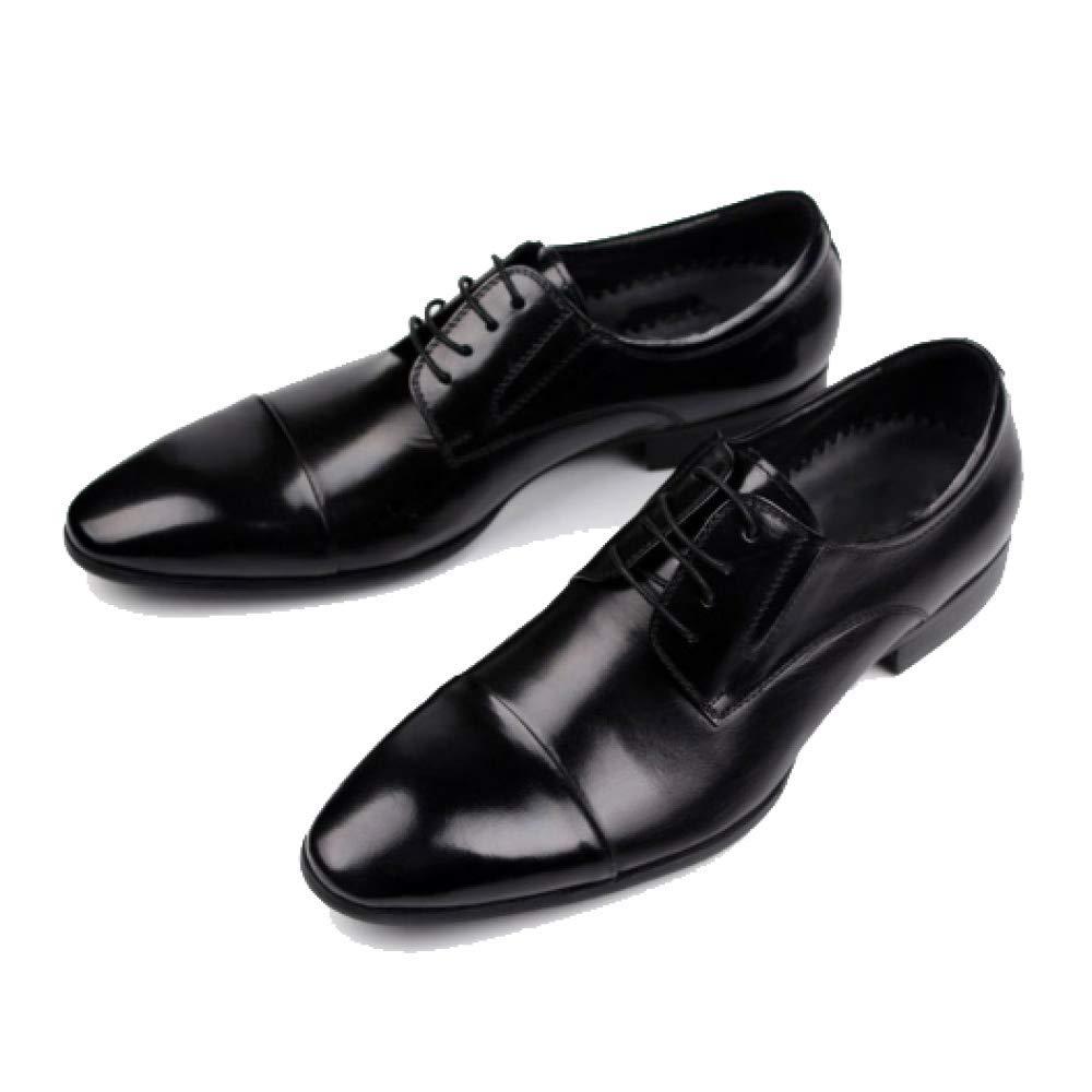 Herren Lederschuhe Britische Schuhe Wies Geschäft Europäischen Version Schnürschuhe Schuhe Hochzeit Schuhe Beiläufige Mode schwarz
