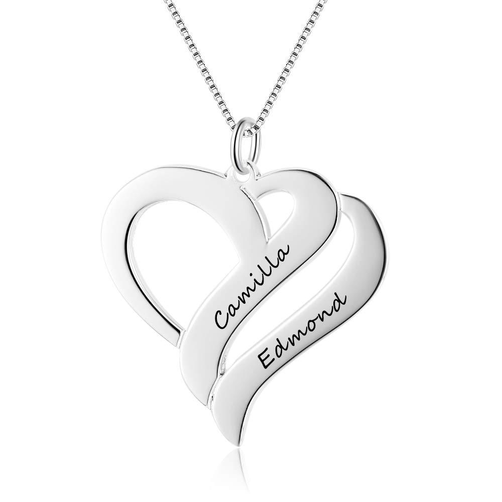 Silber//Rosegold//Gold individuelle Kette Herz mit Gravur Namenskette Herz 925 Sterling Silber mit zwei Wunschname
