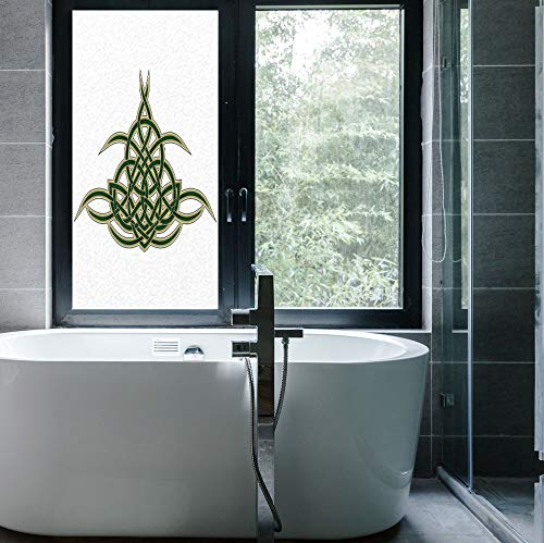 Original Stained Glass - C COABALLA Stained Glass Window Film,Celtic,for Bathroom Shower Door Heat Cotrol Anti UV,Original Celtic Shield Icon Gothic Design Abstract Scotland,24''x48''