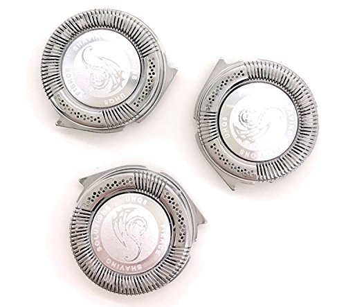 SH50/52 Replacement Heads Set of 3 Dual Precision Silver Dragon Universal Cooling Surface Blades for Philips Norelco Compatible Electric Shaver Series 5000 by Silver Dragon Shave (Image #3)