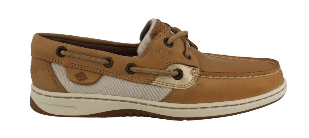 SPERRY Women's, Bluefish 2 Eye Boat Casual Linen Gold 8 M