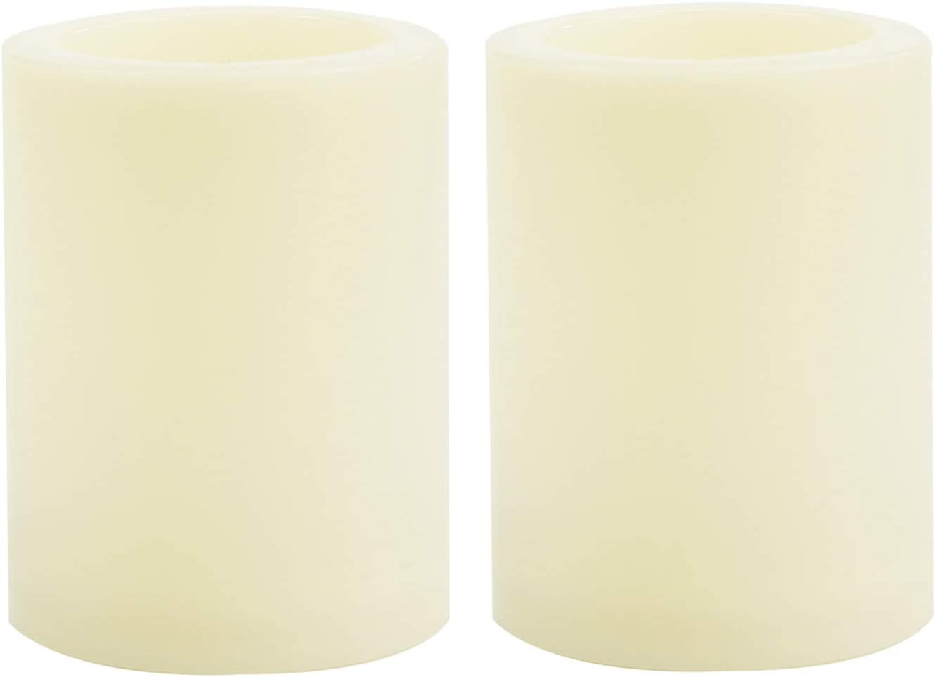 2 Pack Flameless LED Pillar Candles Waterproof Outdoor Battery Operated 6-Hours Timed Flickering Electric Fake Candle Set Bulk for Home Garden Wedding Party Christmas Decoration 3x4 inches