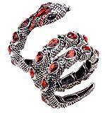 YACQ Jewelry Women's Crystal Stretch Snake Bracelet (Red)