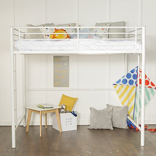 - New Full Size Loft Bed-White Metal Finish