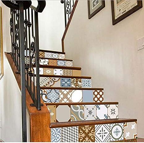 Zller2587 Pegatinas De Escaleras Azulejos Coloridos Mosaico De Cerámica DIY Etiqueta De La Pared Escalera Papel Pintado: Amazon.es: Hogar