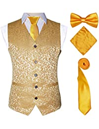ed24a9ce4ad7 Men's 4pc Classic Jacquard Suit Vests with Tuxedo Necktie Handkerchief  Bowtie Set