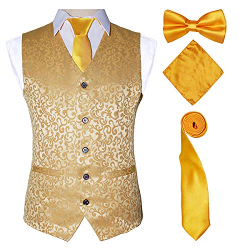 Wedding Dress Vest with Gold Bow Tie Pocket Set for Suit Tuxedo,Gold,M ()