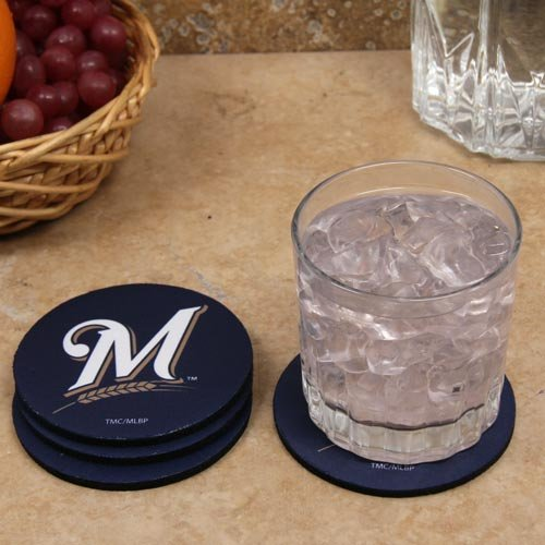 The Memory Company MLB Milwaukee Brewers Official Neoprene Travel Car Coasters (4 Pack), Multicolor, One Size (Car Mlb Milwaukee Brewers)