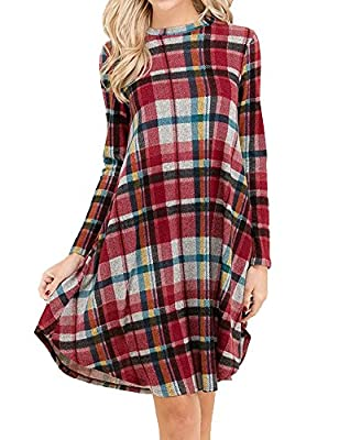 Sisiyer Women's Long Sleeve Plaid Printed Swing Tunic Shirt Dress with Pockets