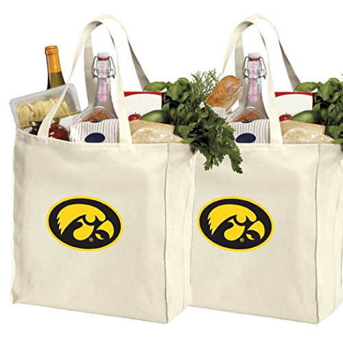 Reusable University of Iowa Shopping Bags or Iowa Hawkeyes Grocery Bag 2Pc Set Natural Cotton ()