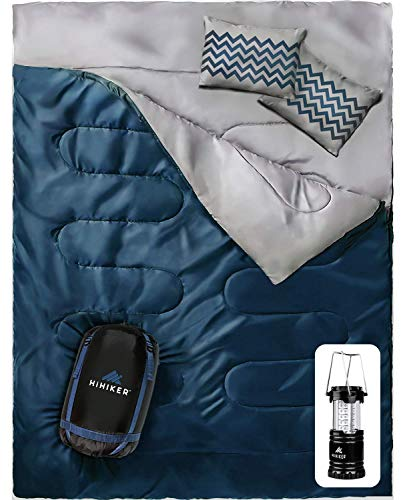 HiHiker Double Sleeping Bag Queen Size XL – Bonus Camping Light – for Camping, Hiking Backpacking and Cold Weather, Portable, Waterproof and Lightweight – 2 Person Sleeping Bag for Adults and Teens