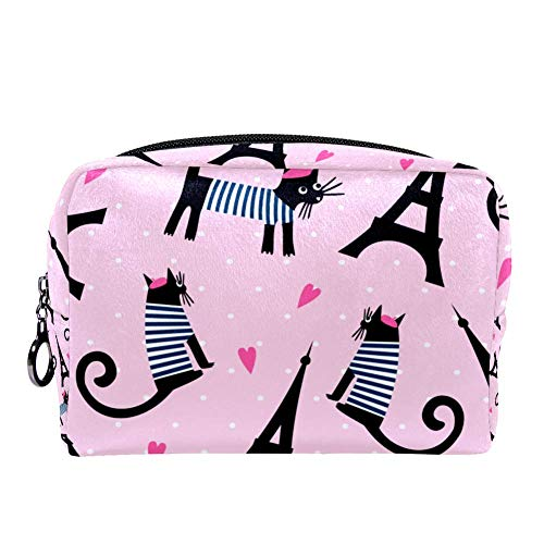 MAPOLO Cartoon Parisian Cat And Tour Eiffel Makeup Bag Toiletry Bag for Women Skincare Cosmetic Handy Pouch Zipper Handbag