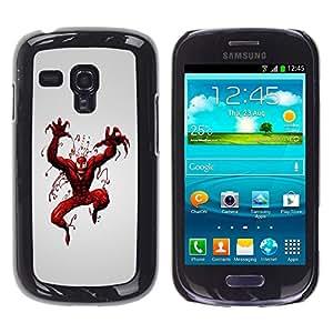 Qstar Arte & diseño plástico duro Fundas Cover Cubre Hard Case Cover para Samsung Galaxy S3 III MINI (NOT REGULAR!) / I8190 / I8190N ( Superhero Villain Red Paint Art Spider Comic)