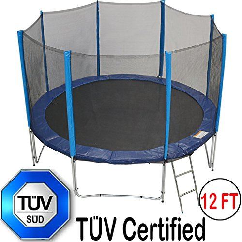 Zupapa 12Ft Trampoline with TUV Certificate Steel Ladder Net Enclosure Safety Pad Jumping Mat Rain Cover Feet by Zupapa