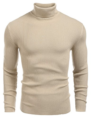 Coofandy Mens Ribbed Slim Fit Knitted Pullover Turtleneck Sweater Khaki XX-Large