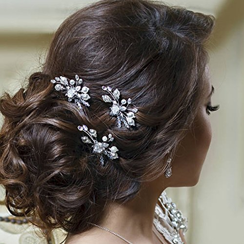 Barogirl Wedding Hair Pins Gold Floral Hair Clip Pin Wedding Hair Piece for Brides and Bridesmaids Set of 3, BFZ-7 (Silver)