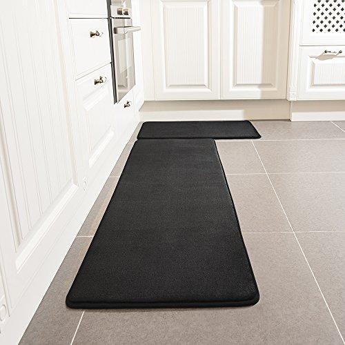 Kitchen Rug Set, LEEVAN Memory Foam Kitchen Comfort Mat Super Soft Rug Microfiber Flannel Area Runner Rugs Non-slip Backing Washable Bathroom Rug Set of 2 Pcs, 19''x31''+19''x63'', Black