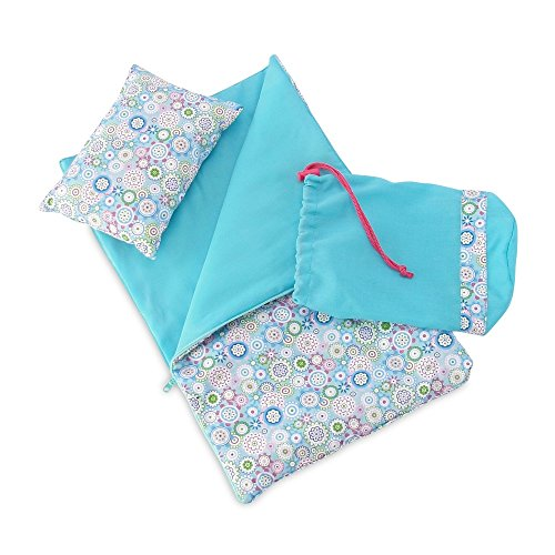 18 Inch Doll Accessories | Reversible Multicolored Geometric Flower Print Sleeping Bag Set with Pillow and Drawstring Storage (Doll Sleeping Bag)