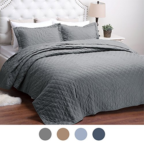 Bedsure Bed Quilts Solid Grey Bedspread Diamond Pattern Coverlet Full/Queen(86