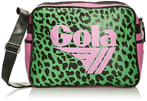 GOLA Safari Tasche Schultertasche Umhängetasche purple green leopard pink grün