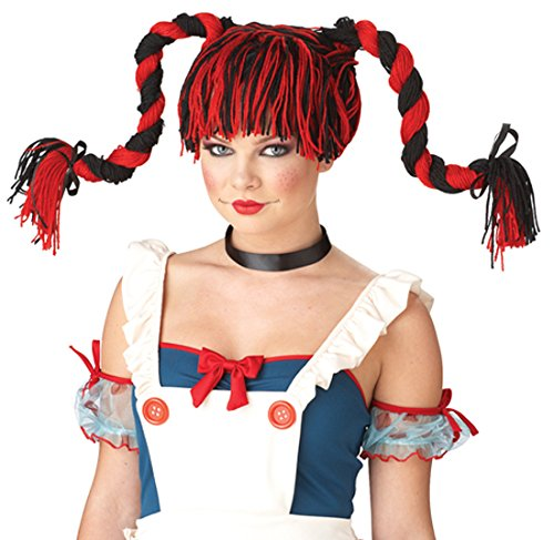 Rag Doll Wig, Red/Black,
