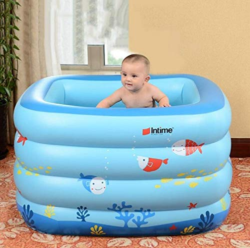 CTO Ining Bathtub Blue Baby Inflatable Swimming Pool Infant Young Child Children Thickening Newborn Bath Tub Blue Cartoon Small Fish,A,Bathtub by CTO (Image #3)