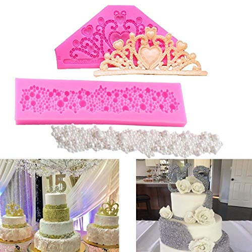 LQQDD Gem Crown/Princess Crown Fondant Cake Molds and Round Pearls Bubbles Cake Decorating Silicone Mats Lace Sugar Chocolate Molds Wedding Cake Decoration Tools
