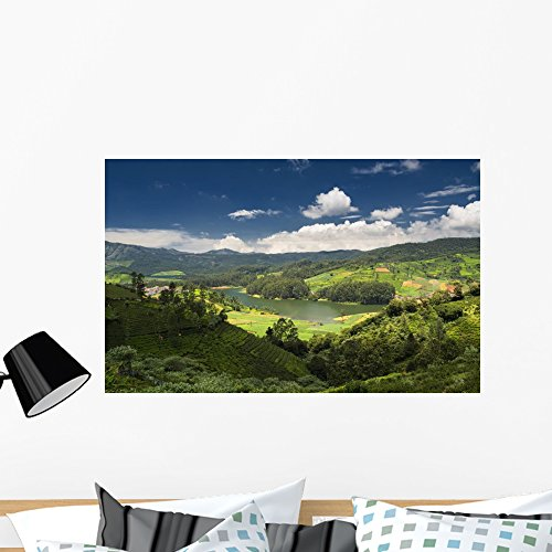 Emerald Lake and Village Wall Mural by Wallmonkeys Peel and Stick Graphic (36 in W x 22 in H) - Hills Village South