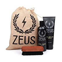 Zeus Basic Beard and Mustache Grooming Kit for Men - Beard Care Starter Kit to Help with Itching and Dry Skin (Verbena Lime)